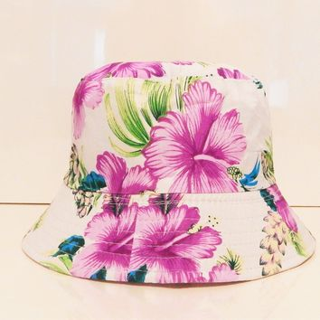 Mens Womens Floral Flower white purple Bucket Hat Cotton Fishing Holiday Cap sun
