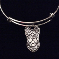 French Bull Dog Silver Expandable Charm Bracelet Adjustable Bangle Meaningful Dog Lover Gift Bulldog
