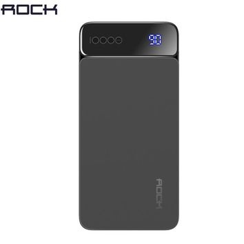 Digital Display Power Bank for Xiaomi Mi, ROCK Portable 10000mah Power Bank Phone External Battery Powerbank 10000 mah
