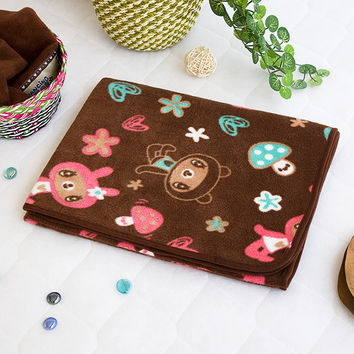 [Brown Dancing Bear] Fleece Throw Blanket In A String Bag (30.7 by 46.9 in)