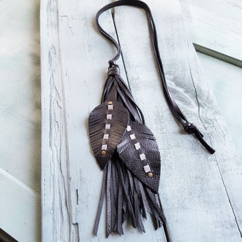 Leather Feather on Leather Necklace Black 234K