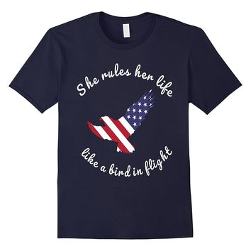 She Rules Her Life Like a Bird in Flight American Eagle tee