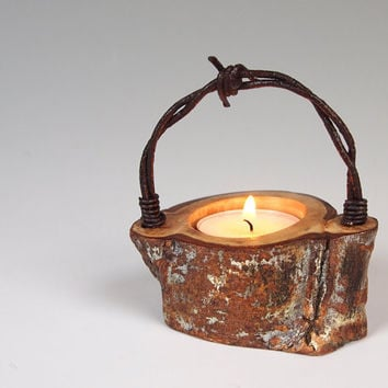 $11.00 Candle Holder Tea Light Woodland Organic Wood by merritthyde