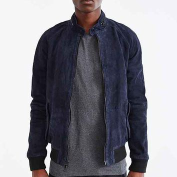 Your Neighbors Zip Suede Bomber Jacket- Navy