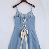 Back Lace Up Cami Denim Dress