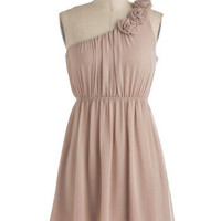 Special Some-One Shoulder Dress in Sand | Mod Retro Vintage Dresses | ModCloth.com