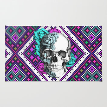 Rose skull on aztec pixel pattern Area & Throw Rug by Kristy Patterson Design