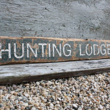 Rustic Distressed Hunting Lodge Directional Hunter Wood Lodge Sign
