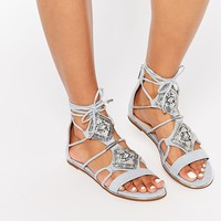 River Island Embellished Tie Up Flat Sandal at asos.com