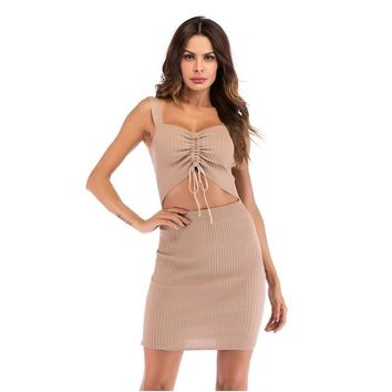 good quality Women's Pit Knitting Hollow Out Strap Sling Dress 2019 Sexy Low-cut Waist Pleated Pants Hip O-Neck Women Mini Dresses