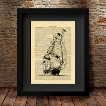 Ship art, Ship print, Nautical print, Ship wall decor, Ocean art print, Ship diagram, Boating gifts, Wall Art Poster, Book Page Style Art-9