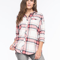 Full Tilt Womens Extreme Fit Flannel Shirt Cream Combo  In Sizes
