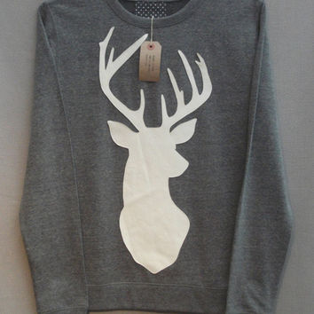 Leather Stag Deer Jumper Women's Grey Heather Lightweight Crew Neck Sweatshirt