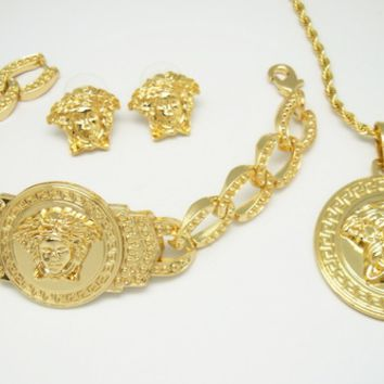 gold versace medusa three piece set with bracelet, necklace and earrings/rings