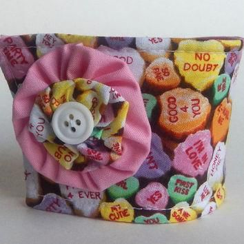 Candy Hearts Coffee Cup Cozy / Candy Pink Drink Sleeve / Conversation Hearts / Valenti