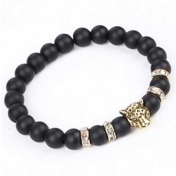 Natural Stone Leopard Head Beads Bracelet - Golden