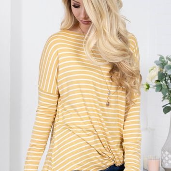 Honey Bright Striped Knot Top