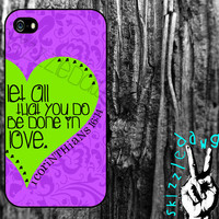 1 Corinthians Bible Verse Quote Purple Floral and Heart Apple iPhone 4/4S and 5 Cell Phone Case Cover Original Trendy Stylish Design