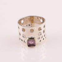 Amethyst Two Tone Sterling Silver Perforated Ring | KejaJewelry - Jewelry on ArtFire