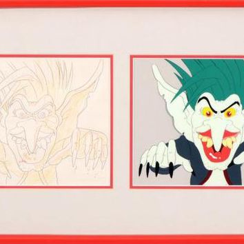Green Haired Monster - Diptych with Original Production Drawing on Paper and Hand Painted Production Animation Cel by Filmation Associates