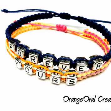 Forever Yours Couples Bracelet Set, Navy Blue Orange and Pink Macrame Hemp, Adjustable Jewelry