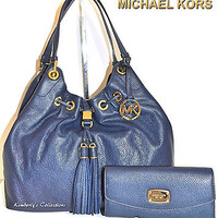 MICHAEL KORS Camden Lg Leather Drawstring Shoulder Tote Bag  & Wallet Set NWT
