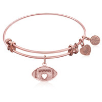 Expandable Bangle in Pink Tone Brass with Football Symbol