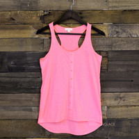 Balm Breeze Neon Pink Button Tank