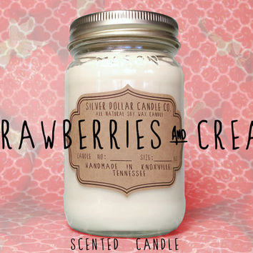 Strawberry Cream Candle,16oz Soy Wax Candle, girlfriend gift,mason jar,Valentines Day Candle,gift for women,wife gift,boyfriend gift