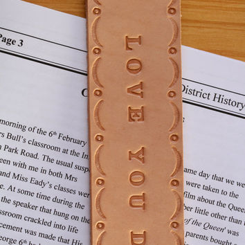 Love You Dad Bookmark, Hand Tooled Leather Bookmark, Love You Dad Leather Marker, Deluxe Bookmark, Love You Dad Book Marker, Fathers Gift