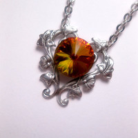 Sunset Orange Golden Crystal Necklace - Swarovski Element