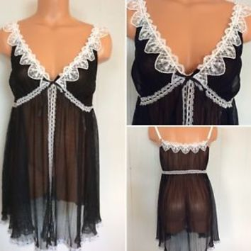 Darling Black W/ White Lace Pleated Jezebel Baby Doll Chemise Nightgown Sz L