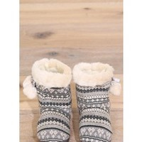 Cozy Fair Isle Fur Slipper Boots