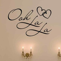 OOH LA LA Paris France Hearts Love Quote Vinyl Wall Decal Decor Art Sticker