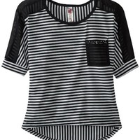 Beautees Big Girls' Striped Chiffon High-Low with Solid Pocket, Black, Small