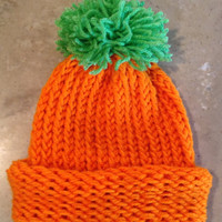 Baby Infant Pumpkin Halloween Fall Knitted Hat