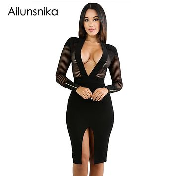 Ailunsnika Winter Autumn Long Sleeve Dress 2018 Women Club Sexy Dresses Black Sheer Pinstripe Mesh Accent Bodycon Dress DL61764