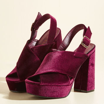 All Hours of Nineties Night Velvet Heel | Mod Retro Vintage Heels | ModCloth.com