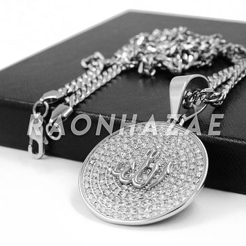 Stainless Steel Silver Iced Out Allah Round Medallion Pendant w/ Cuban Chain