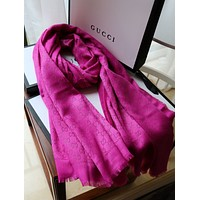 GUCCI G Logo print Women Wool Scarf Shawl Scarf Winter Knit Fashion Classic Print Shawl Scarf