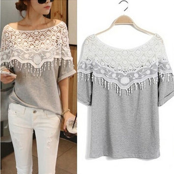 New Womens Sweet Style Free size Wild Hollow Crochet Lace Stitching Tees Loose Short Sleeve Fashion T-Shirt = 1706363588