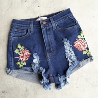 high waisted shredded hot shorts with floral applique - dark blue