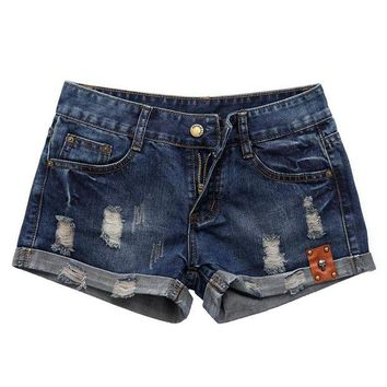 DCCKKFQ 2017 Denim Shorts Women Summer Vintage Distressed Womens Jean Shorts Skull Ornament casual female waist Jeans Shorts