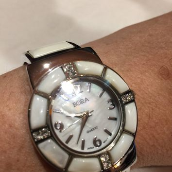 Vintage style white Mother of Pearl Bangle Bracelet Watch