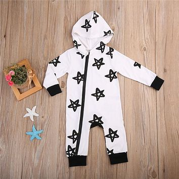 Newborn Infant Baby Boys Girls Clothing Pattern Winter Baby Rompers Playsuit Long Sleeve Romper Kids Zipper Clothes