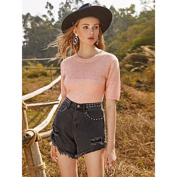 SHEINSolid Pointelle Knit Top