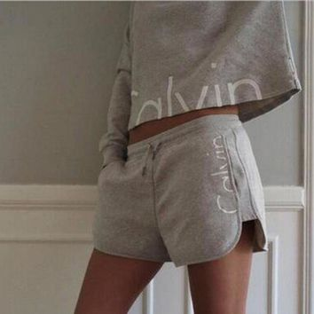 Autumn short paragraph long-sleeved cotton printed piece sweater Shorts Set