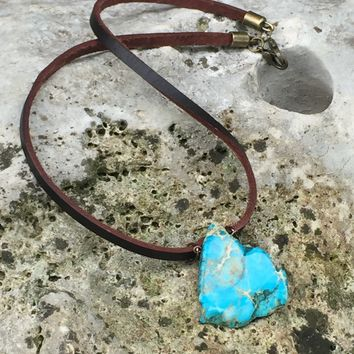 Men's leather and turquoise stone necklace
