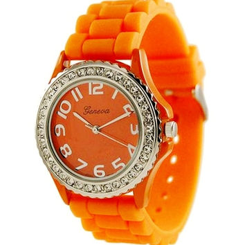 Geneva Rhinestone Watch Orange Women's accented Silicone