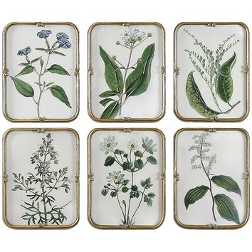 Set of 6 Blue Floral Collection Gold Leaf Art